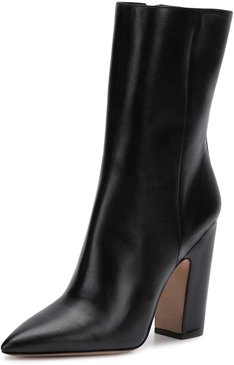XYD Women Stylish Pointed Toe Chunky High Heel Ankle Boots Leather Side Zippers Mid Calf Booties