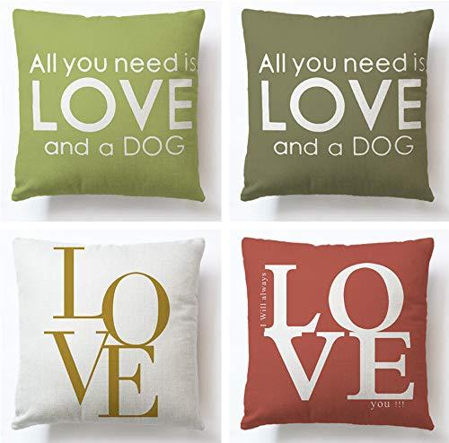 JgZATOA Love Letter Printing PillowCaseCoverCushionHomeBedroomSofaCushionCoverCarDecor45X45CmSetOf4