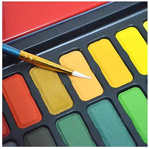 Draagbare 24-kleuren festival aquarel pennenset, effen kleur op waterbasis, verfset, blik met penseel, verfgereedschap