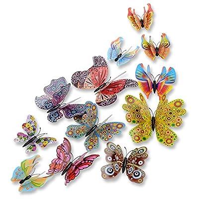 DAGOU Mixed of 12PCS 3D Pink Butterfly Wall Stickers Decor Art Decorations??