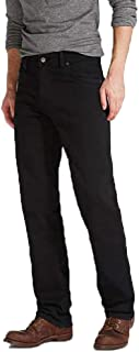 Mens Wrangler Texas Stretch Regular Fit Straight Leg Jean Zip Fly - Black Denim