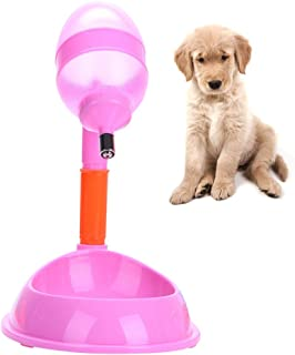 PanDaDa 600ml Pet Standing Water Dispenser 2-in-1 Pets Cat Dog Water Bottle & Feeder Bowl with Detachable Pole Automatically Feeding Water Height Adjustable for Travelling
