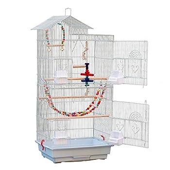 Volière Oiseaux, Cage à Oiseaux avec Toits, Équipée 3 Perchoir en Bois, 4 Mangeoires, 3 Jouets, 1 Swing, Cage d'Elevage Oiseaux en Métal Perruche Perroquet Canari, 43 x 36 x 100cm (Blanc)