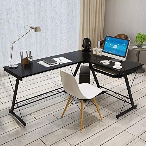 Laptop Desk Multipurpose PC Workstation for Home Office Brown Modern Simple L-Shape Corner Computer Office Desk Compact Home Office Workstation (Color : Black, Size : Free Size)