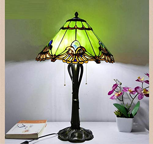 Schreibtisch Hellblau Grün Multi Glasmalerei Tischlampe Wohnkultur Kunsthandwerk Kunst Klassische Retro Barock Beleuchtung Schlafzimmerlampe-Warmweiß_Druckschalter