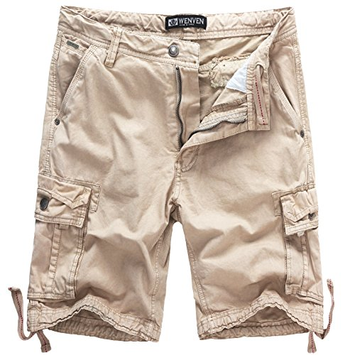 WenVen Men's Active Cargo Shorts Cotton Outdoor Wear Lightweight (WV3229 Light Khaki,38)