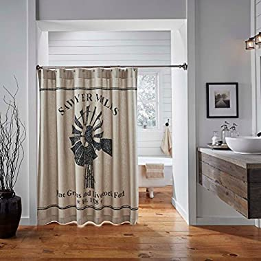 VHC Brands Farmhouse Bath - Sawyer Mill Tan Shower Curtain, 72 x 72 Charcoal Windmill