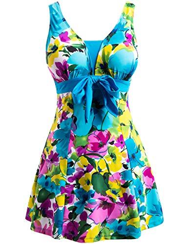 Wantdo Women's Floral Swimdress Modest Swimwear Slimming Push Up Skirtini Swimsuit Lakeblueflower 18W-20W