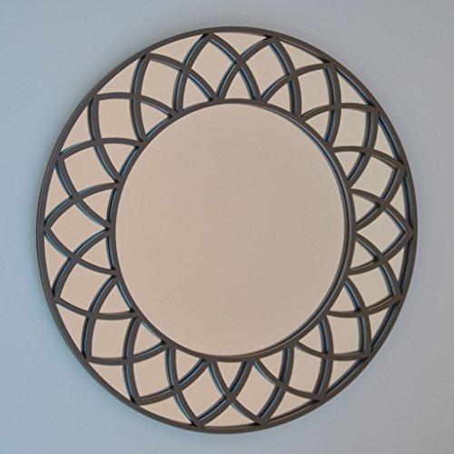 DECOHOGAR.SHOP Miroir Mural Rond - Moyen Soleil - 60 x 60 cm - Laqué Noir