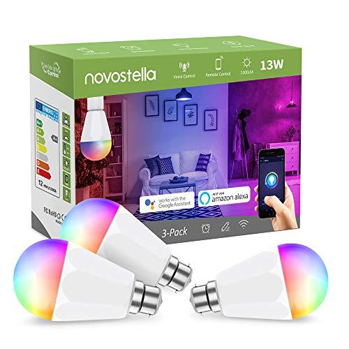 Novostella Smart Glühbirne B22, 13 W LED RGB Hell, Wlan, Bajonett Birne, dimmbar, Weiß, funktioniert mit Alexa / Google Home, IFTTT, 3er-Pack, b22