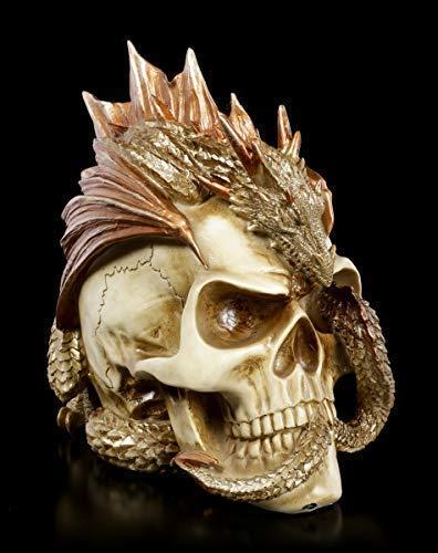 Gothic Alchemy Totenkopf mit Drache - Dragon Keeper's Skull | Fantasy Skull, Schädel, Deko-Figur, Deko-Artikel, Kopf-Skulptur, H 20,5 cm