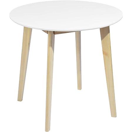 MEUBLE COSY Table de Salle à Manger Table ronde de salon Scandinave 2 à 4 Personnes Table de Cuisine Moderne Pieds en Bois