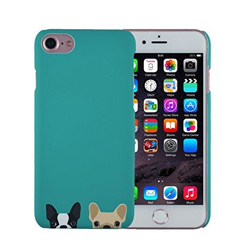 iPhone 6S Plus Case, FACEVER Anti-Fingerprint French Bulldog Full Printed Cute Plastic Cover for iPhone 6 Plus (French Bulldog Green)