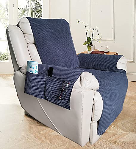 Funda de silla reclinable para sofá antideslizante con bolsillos