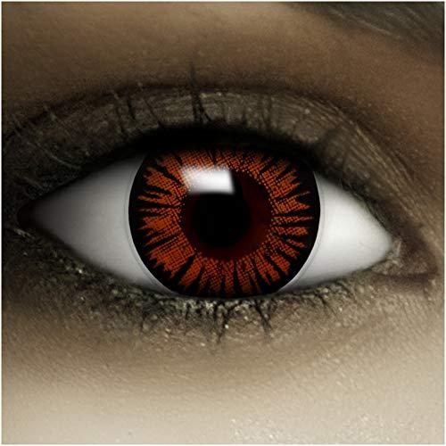 Farbige Kontaktlinsen ohne Stärke Twilight + Kunstblut Kapseln + Kontaktlinsenbehälter, weich ohne Sehstaerke in blau, 1 Paar Linsen (2 Stück)