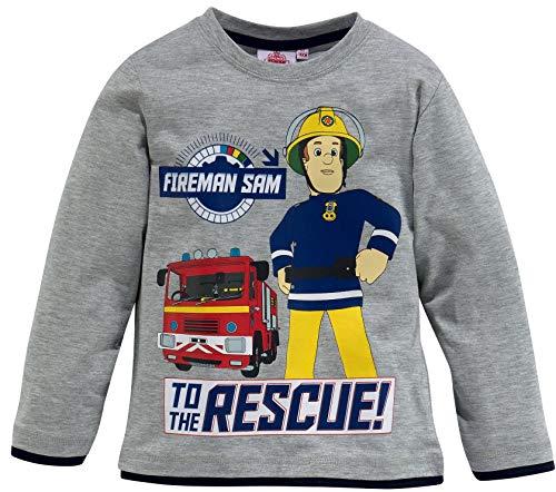 Feuerwehrmann Sam Langarm T-Shirt kuscheliges Sweatshirt Jungen Longsleeve weich + warm blau, grau, rot Hero IN Action Gr.98 104 110 116 3 4 5 6 Jahre (Grau, 98)