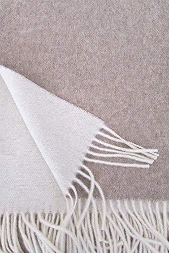 Alpenwolle Wollplaid, Kaschmirplaid Doppelseitig, Tagesdecke mit Kaschmir Anteil, 150x210 cm beige/Creme