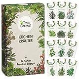 Kräuter Samen Set von OwnGrown, 12 Sorten Küchenkräuter als praktisches Kräutersamen Set, Gewürzsamen und Kräuterset für Küche und Balkon, 12er Box