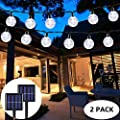2-Pack Globe Solar String Lights Outdoor, Upgraded Ultra-Bright 60 LED Crystal Ball Solar Christmas Lights, IP65 Waterproof 8 Modes Outdoor Solar Lights for Patio, Garden, Gazebo, Tree (Cool White)