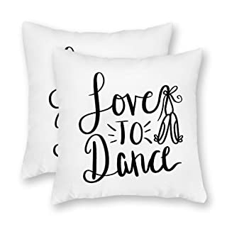 DKISEE Set of 2 Love to Dance Square Throw Pillow Cover Canvas Pillow Case Sofa Couch Chair Cushion Cover or Home Decor