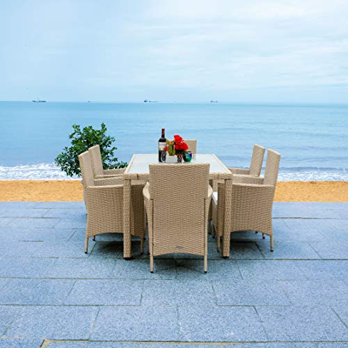 Safavieh Outdoor Collection Jolin Wicker 7-Piece Dining Set PAT7706B-3BX, Beige/White Cushion