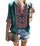 Mansy Women's Summer V Neck Boho Print Embroidered Shirts Short Sleeve/Long Sleeve Casual Tops Blouse