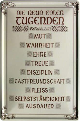 De 9 mooie deugden: Mut Ehre trouw vlecht 20x30 cm metalen bord 1554