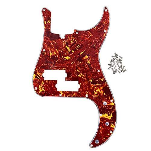 IKN 13 Loch Modern Style Standard P Bass Pickguard 4Ply Scratch Plate für viersaitige Precision Bass Modelle Gitarre, rote Schildkröte