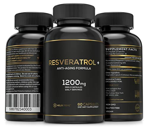 51tmydp NpL - Resveratrol Supplement with Trans Resveratrol HELIX PRIME 1200mg Per Serving in 60 Capsules Vegetarian Antioxidant Promotes Anti Aging