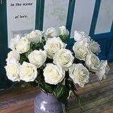 Kolylong Fleur Artificielle Bouquet Fleur De Rose Et Feuille Verte DéCoration PE Maison Mariage Accessoire (43 cm/ 17-10pc, Blanc)