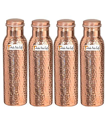 1000 ml/958,5 gram – Lot de 4 – Prisha Inde Craft® – Cuivre martelé Bouteille d'eau | Joint gratuit, meilleure qualité de bouteilles d'eau – Cadeau de Noël faite à la main