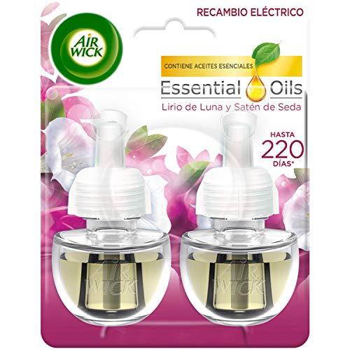 Air Wick Eléctrico - Ambientador, esencia para casa con aroma a Lirio de Luna y Satén de seda- 2 recambios