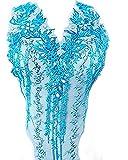 Apliques de encaje con cuentas 3D bordadas con diamantes de imitación florales...