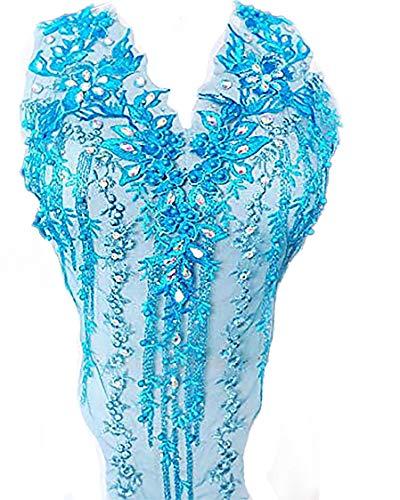 Apliques de encaje con cuentas 3D bordadas con diamantes de imitación florales parches ideales para bricolaje escote corpiño boda vestido de fiesta de novia A2AB (B, turquesa)