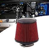 Ruien 汎用 76mm エアクリーナー エアフィルター キノコ型 ステンレス スポーツフィルター メッシュ 車 吸気効率UP エンジンパワーアップ ターボ 集塵 コンパクト 軽量 自動車用 乾式 レッド