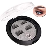 Fun Young Single Magnetic Fake Eyelashes Black Magnets lashes Natural Look No glue Ultra Thin Magnet Lightweight & Easy to Wear,3D Reusable mink lashes Extensions - 1Pair / 4Pcs