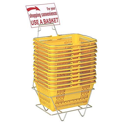 만 옷걸이 플라스틱 쇼핑 바구니 - 내구성 노란색 플라스틱 스탠드 및 서명 쇼핑 바구니의 세트 - 금속 핸들 12 플라스틱 바구니 세트