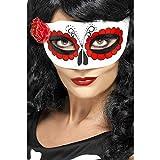 Smiffy's-27854 Antifaz del Día de Muertos mexicano, con una rosa, color blanco y rojo, Tamaño único (27854) , color/modelo surtido