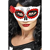 Smiffy's Women's Mexican Day Of The Dead Eyemask with Rose with Tag Card, Multi, One Size