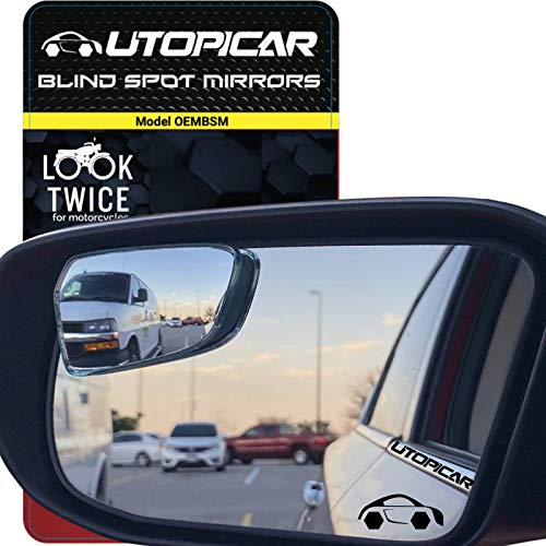 Blind Spot Mirrors [Original Part Look - Fits Shape of Car Door Mirror] Fully Adjustable with Plastic Frame - Model OEM for Blindside and Engineered for optimized viewing image by Utopicar (2 pack)