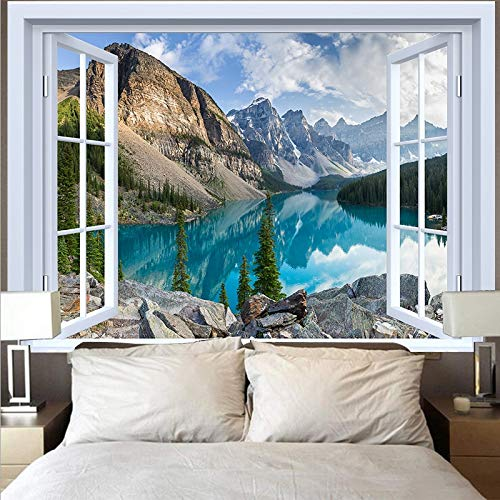 Tapiz de luna natural colgante de pared hippie playa bosque girasol cielo cielo estrellado ventana tapiz tela colgante A17 73x95 cm