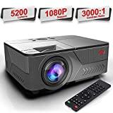 Pansonite Projector 5200 Lumens Movie Projector with 1080P and 30,000 Hour Lamp Life and Max.200'' Display Supported, Compatible with HDMI/VGA/AV/ USB for iPhone(Black)