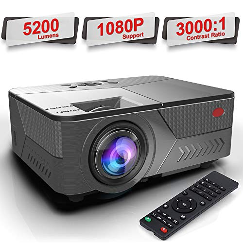 Pansonite Projector 5200 Lumens Movie Projector for iPhone Support 1080P and 30,000 Hour Lamp Life and Max.200