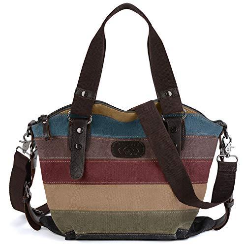 Coofit Multi-Color-Striped Canvas Damen Handtasche/Umhängetasche Canvas Tasche Shopper Hobo Bag