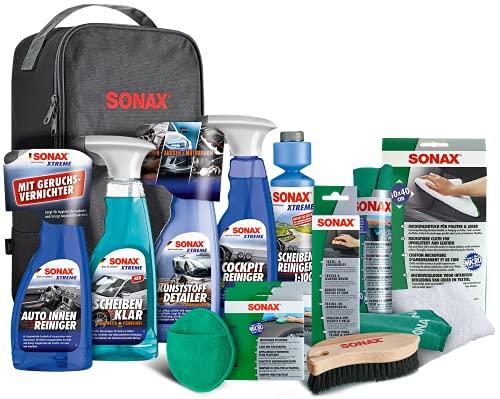 SONAX Innenraum+Scheibe-Set mit Tasche zur Reinigung aller Flächen im AutoInnenRaum mit langanhaltendem Schutz | Art-Nr. 07688000