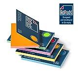 AdPads elektrostatisch selbstklebende Haftnotizen | 100 x 68mm, 500 Blatt, Set Bunt | Kleine Static Sticky Notes | Beweglich und verschiebbar auf jeder Oberfläche