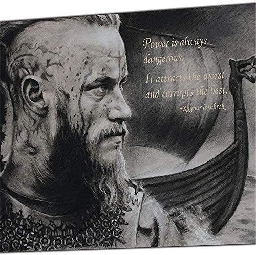 MFZJ Lienzo artístico para pared con cita de Ragnar Lothbrok, imagen vikinga, impresión fotográfica sobre lienzo, pintura artística de pared, sala de estar, decoración del hogar, 50 x 75 cm, sin marco