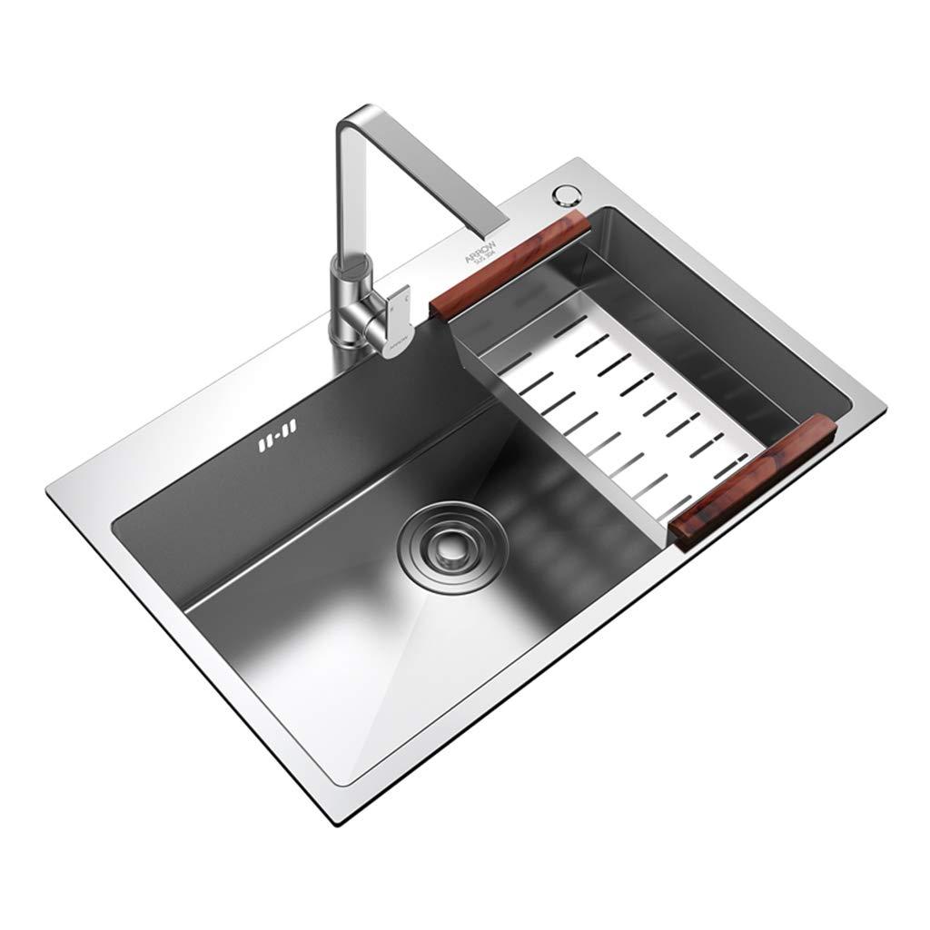 Amazon Com Xing Hua Shop Kitchen Bar Sinks Kitchen Sinks Sink Kitchen Single Sink Sink Stainless Steel Thick Hand Tank Sink Kitchen Sink Bowl 1 Bowl Single Bowl Color Silver Size