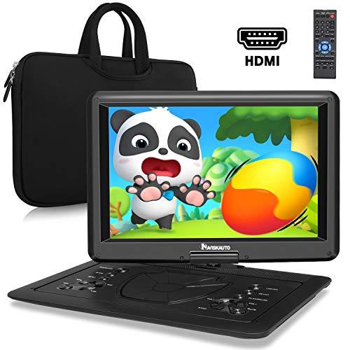 "16"" DVD Portátil para Coche Niños con HDMI, Reproductor de DVD con Batería Incorporado de 6 Horas Duración, soporta USB/TF, Video de Full 1080, MP4, MKV, con Bolsa de Transporte - NAVISKAUTO"