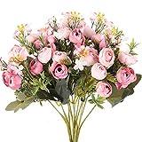 XHXSTORE 3PCS Bouquet Fleur Artificielle Rose en Soie Fausse Fleur Artificielle Deco pour Vase Bouquet de Mariée Maison Jardiere Fête Arrangement de Fleur